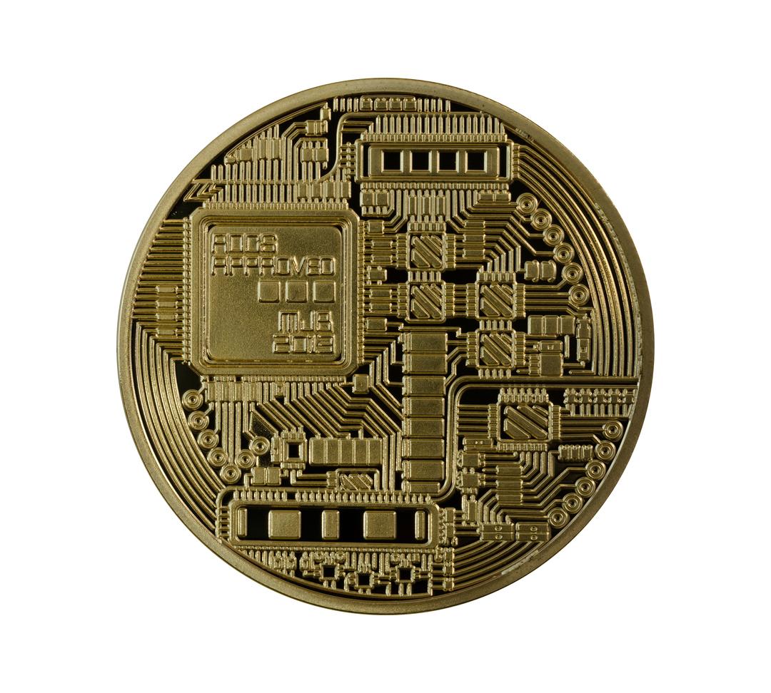 Golden Bitcoins back (digital virtual money) isolated.