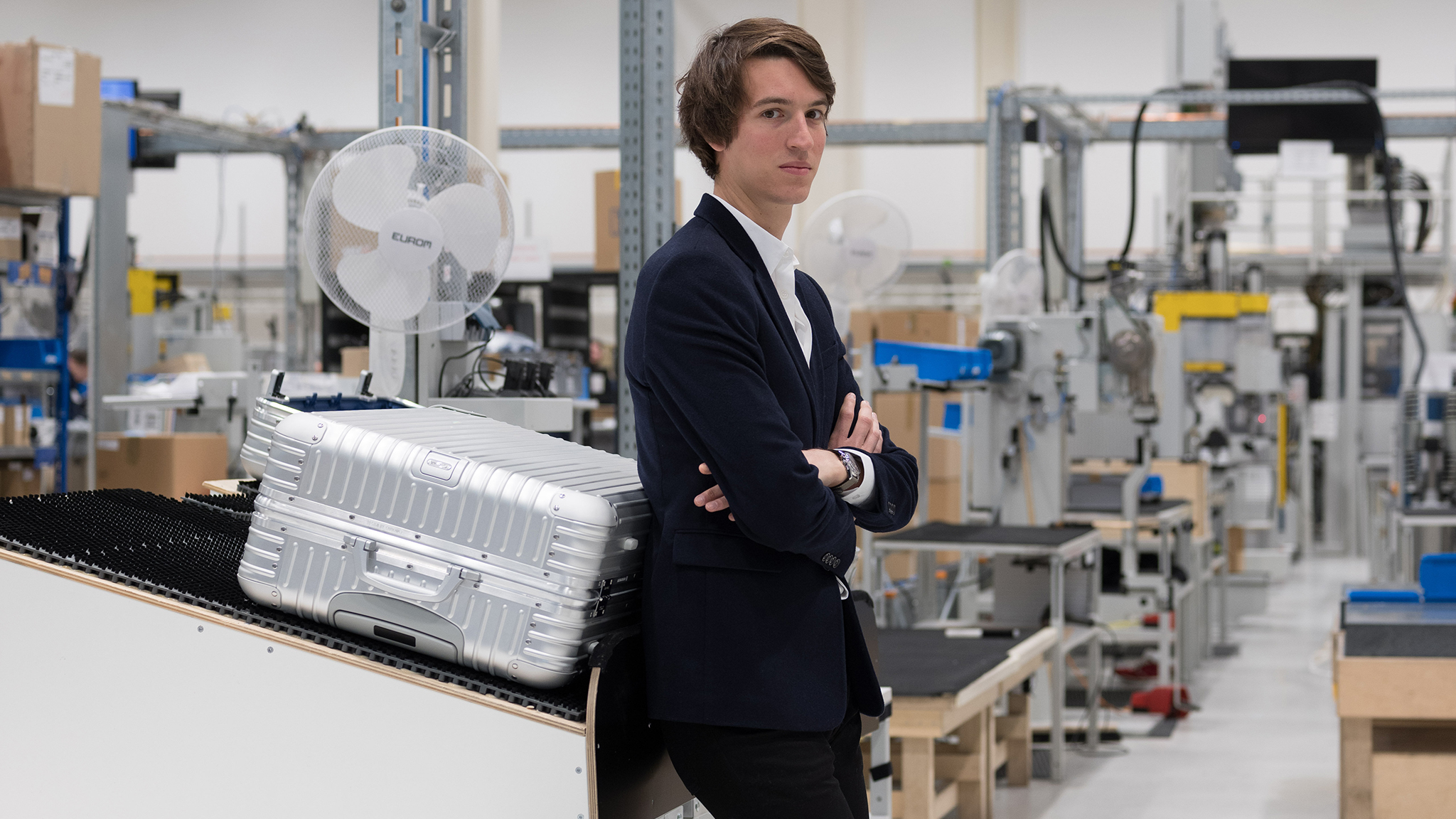 Alexandre Arnault  Ceo Rimowa factory    photographed for the FT by Albrecht Fuchs